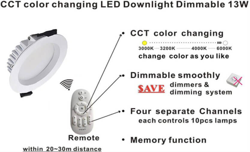 led downlights 3 color change and dimming1 - Led SMD Downlights Project - Lighting show room