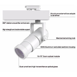 15w 25w 35w COB 2 phase 3phase 4 phase zoomable led track light - Museum Zoom LED Track Light