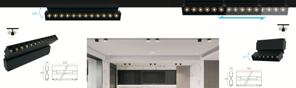 24v magnetic linear spot light 34mm - 34MM Magnetic Linear Architectural Lighting System