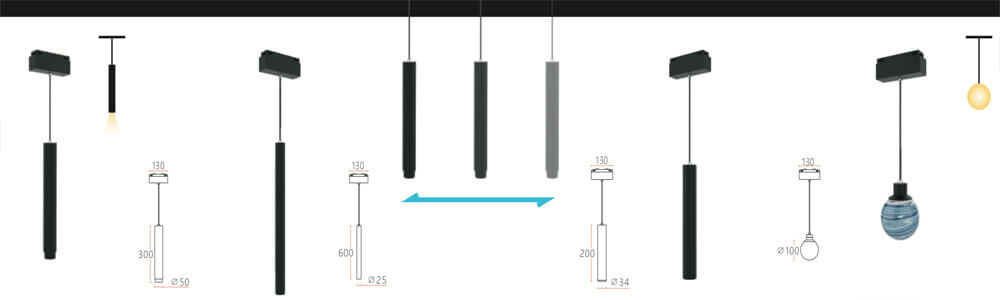 magnetic pendent light system 34mm with DALI control - 34MM Magnetic Linear Architectural Lighting System
