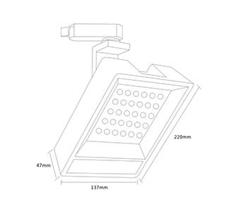 30w square track spot light size - 30W Square LED Track Light