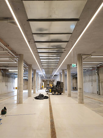 seamless linear light for winery installation