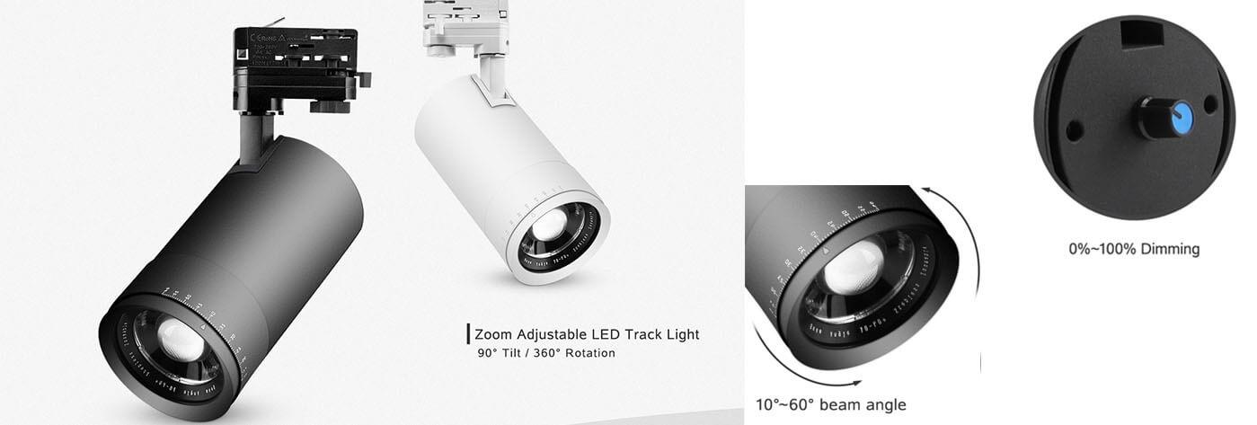 müze için yakınlaştırılabilir led parça ışığı 0-10V karartma